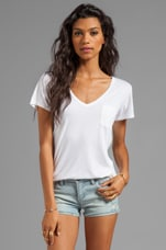 V-Neck Pocket Tee in White
