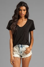V-Neck Pocket Tee in Black