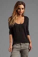 Linen Jersey Henley in Black
