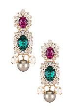 Anton Heunis Crystal Cluster & Pearl Pendant Earring in Green, Fuchsia & Gold