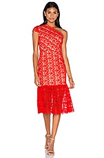 Camelot Embroidered Toga Dress en Scarlet