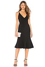 aijek Camille Bonded Fit Flare Dress in Black