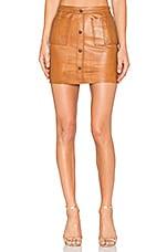 Aje Shrimpton Leather Mini Skirt in Tan