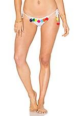 Pompom Bikini Bottom in White