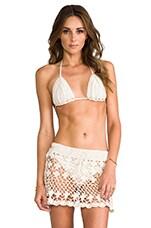 Anna Kosturova Eyelet Overlay Bikini in Cream