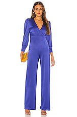 Alice + Olivia Lisa Deep V Jumpsuit in Ultramarine
