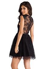 Alice + Olivia Shelly Leather Detailed Boatneck Mini Dress in Black