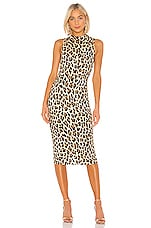 Alice + Olivia Delora Sleeveless Fitted Mock Neck Dress in Textured Leopard