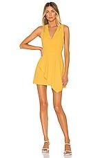 Alice + Olivia Callie Asymmetrical Drape Dress in Golden Rod