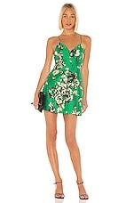 Alice + Olivia Tayla Structured Lantern Mini Dress in Dark Kelly Multi