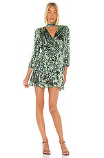 Alice + Olivia Rita Blouson Sleeve Mini Dress in Black & Emerald