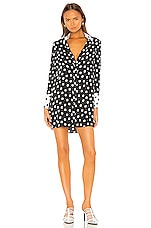 Alice + Olivia Halima French Cuff Shirt Dress in Polka Dot Black & Soft White