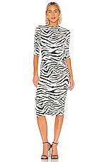 Alice + Olivia Delora Fitted Mock Neck Dress in LG Tiger SFT White & Black