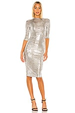 Alice + Olivia Delora Fitted Mock Neck Dress in Silver