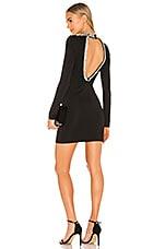 Alice + Olivia Inka Embellished Long Sleeve Dress in Black & Crystal