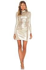Alice + Olivia Hilary Ruched Mock Neck Dress in Pale Gold