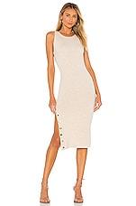 Alice + Olivia Jenner Crew Neck Slim Dress in Oatmeal