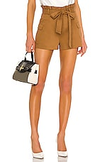 Alice + Olivia Laurine Paperbag Cargo Short in Camel