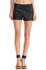 Leather Piped Shorts in Black