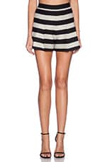 Back Zip Pleat Short in Black & Silver