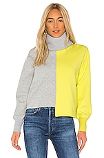 Alice + Olivia Spencer Turtleneck Sweater in Light Heather Grey & Sunny Lime