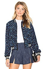 Lonnie Cropped Bomber Jacket in Cobalt