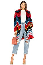Alice + Olivia Roth Faux Fur Coat in Multi