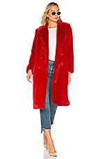 Alice + Olivia Montana Faux Fur Pea Coat in Ruby