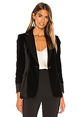 Alice + Olivia Macey Pleated Sleeve Fitted Blazer in Black