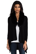 Izzy Cascade Fur Cardigan in Black