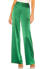Alice + Olivia Dylan Clean High Waist Wide Leg Pant in Basil