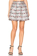 Alice + Olivia Fizer Pleat Mini Skirt in Cream, Black & Red