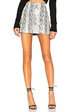 Alice + Olivia Elana Leather Mini Skirt in Black & White