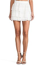 Alice + Olivia Ruba Crochet Beaded Ruffle Skirt in Off White