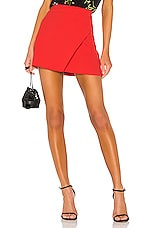 Alice + Olivia Shaylee Asymmetrical Drape Wrap Mini Skirt in Bright Poppy