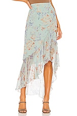 Alice + Olivia Caily Ruffled Skirt in Water Petal Light Blue & Multi
