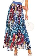 Alice + Olivia Shannon Pleat Skirt in Tie Dye Kaleidoscope