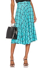 Alice + Olivia Parcell Flared Midi Skirt in MD Plaid Bluebird & Black
