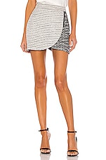 Alice + Olivia Lennon Side Zip Mini Skirt in White & Black
