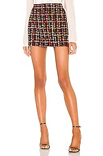Alice + Olivia Elana Mini Skirt in Black Multi