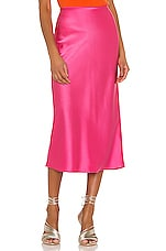 Alice + Olivia Maeve Mid Length Slip Skirt in Wild Pink