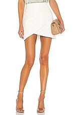 Alice + Olivia Fidela Leather Combo Crossover Skirt in White