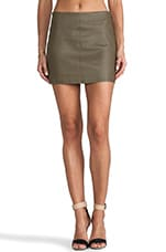 Aly Leather Mini Skirt in Deep Ivy