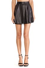 Blaise Lace Hem Leather Skirt in Black