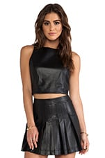 Lorita Leather Cropped Top in Black
