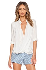 Lalita Draped Collared Shirt in Off White