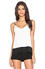 V Neck Cami in Off White & Black