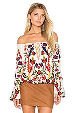 Naya Embroidered Peasant Top in Cream & Multi