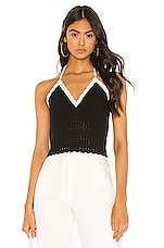 Alice + Olivia Saran Cropped Halter Tank in Black & Soft White