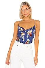 Alice + Olivia Harmon Drapey Slip Tank in Colorful Bouquet Riviera
